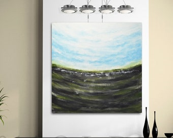 Large original landscape acrylic painting 36 x 36 blue green square abstract art seascape painting modern art