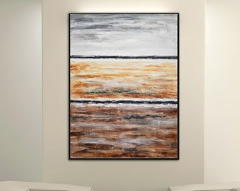 XXL Abstract Landscape Painting Acrylic Modern Art Painting on canvas textured abstract gray umber vertical artwork design wall art
