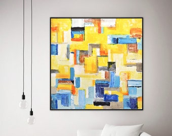 Original abstract painting urban art 36 x 36 large wall art square abstract acrylic painting yellow white blue contemporary