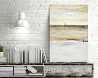Original Abstract painting large minimalist art acrylic painting 24 x 36 white contemporary minimalist painting wall art artwork design