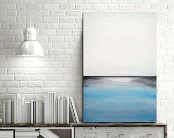 Original Abstract painting large landscape oil painting blue white seascape contemporary abstract art wall art artwork design