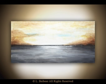 Abstract Landscape Painting 24 x 48 original modern art large oil gray brown landscape abstract painting raw art gallery