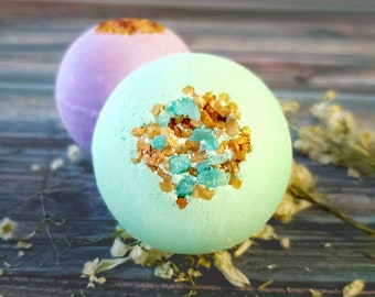 Big Bubble Bath Bomb Gift Set 2-Pack, luxurious 5oz large bath fizzies make a great gift for her, goat milk bath bombs gifts for men