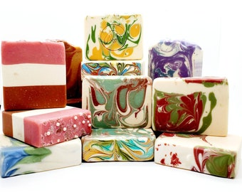 Goat Milk Soap Gift Set of 5, large handmade soap makes a great gift for her, mix and match, psoriasis soap and eczema skin care
