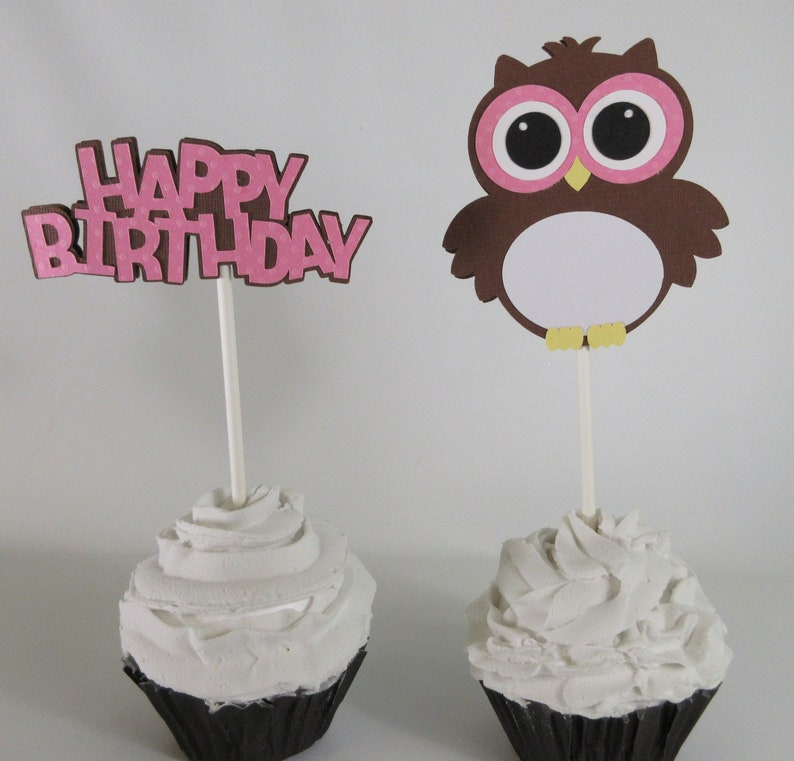 Owl cupcake topper - Owl birthday party - Owl party - Birthday cupcake toppers - Happy Birthday - Cupcake toppers - Owl - Set of 12