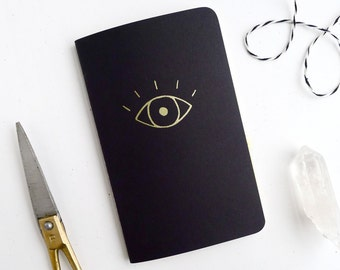 Eye Jotter Notebook / Witchy Pocket Journal / Gold Evil Eye Book / Plain or Lined Paper