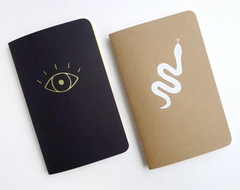 Curiosities Jotter Notebook Pack / Witchy Pocket Journal Pair / Snake & Eye Book / Plain or Lined Paper