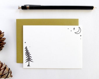 Forest Notecard Set / Moon Letterpress Stationery Set / Thank You Notes