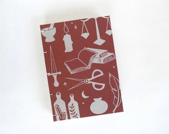 Alchemy Journal / Witchy Blank Notebook / Screen Printed Journal / Hand Bound Coptic Book