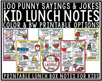 100 Punny Sayings & Jokes Lunch Box Notes For Kids | Printable Instant Download |  Lunch Box Notes Printable | Funny Encouraging Notes