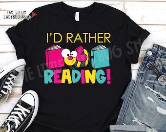 I'd Rather Bee Reading Teacher Shirt | Reading Teacher Shirt |  Love Reading Teacher Tee