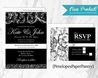 Elegant Black and White Wedding Invitation,Black,White,Calligraphy,Scrolls,Flourishes,Shimmery,Personalize,Printed Invitation,Wedding Set