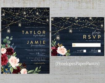 Rustic Navy Floral Fall Wedding Invitation,Mr and Mrs,Burgundy,Blush,Navy Blue,Roses,Barn Wood,Gold Print,Shimmery,Printed Invitation,Custom