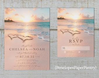 Wedding Beach Invitation Beach Wedding Invitations Beach Invitation Heart in Sand Wedding Invitation Beach Themed Ocean Themed Invitation
