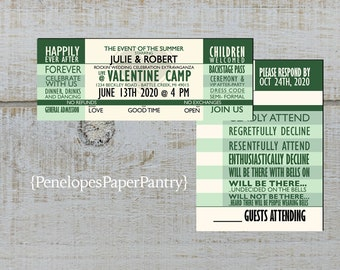 concert wedding invitations etsy