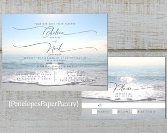 Elegant Beach Wedding Invitation,White Sand Beach,Blue Sky,Shimmery Water,Hawaii Wedding,Shimmery,Personalize,Printed Invitation,Wedding Set