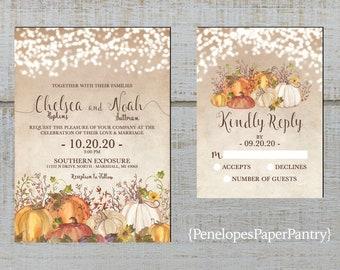 Rustic Fall Wedding Invitation,White Pumpkins,Blue Pumpkins,Vines,Navy Barn Wood,Calligraphy,Gold Print,Shimmery,Printed Invitation,Envelope