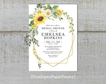 90a0eabe79ff Elegant Sunflower Geometric Frame Bridal Shower Invitation