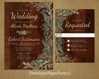 Winter wedding invitations Etsy
