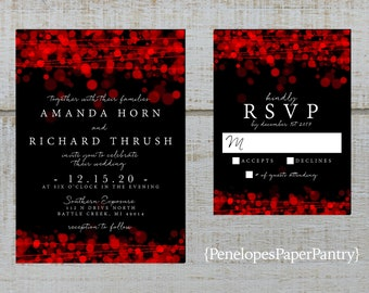 Black Red Wedding Invitations Etsy