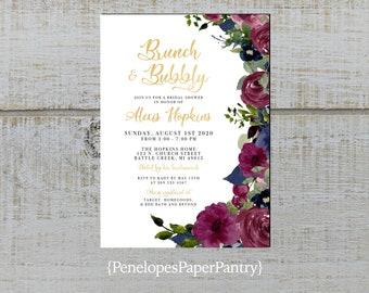 Personnalisé Vintage Wedding Invitation Set F ivoire Floral Violet Inc enveloppes