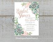 Elegant Succulent Summer Bridal Shower Invitation,Succulents,Pink Roses,Calligraphy,Rose Gold,Shimmery,Customize,Printed Invitation
