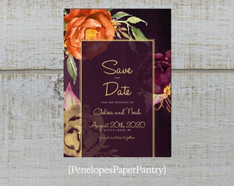 e4acecc9b9a0e Elegant Floral Fall Wedding Save The Date Card,Plum,Purple,Orange,Roses,Gold  Print,Shimmery,Personalize,Printed Cards,Envelopes