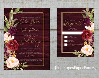Rustic Summer Wedding Invitation,Purple,Lavender,Lilac,Roses,Greenery,White Barn Wood,Calligraphy,Personalize,Printed Invitation,Envelope