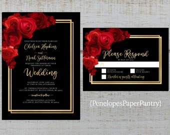 Romantic Red Roses Personalized Wedding Save The Date Cards
