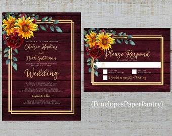 Rustic Photo Fall Wedding Invitation,Sunflowers,Eucalyptus,Navy Barn Wood,Gold Print,Shimmery,Custom Photo,Printed Invitation,Wedding Set