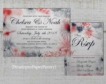 4th Of July Wedding Invitations Etsy