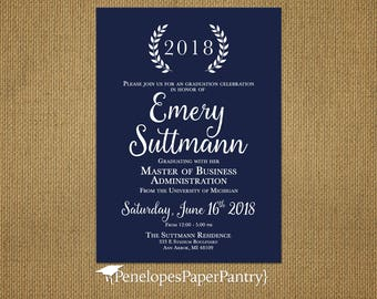 College graduation announcement etsy elegant navy college graduation announcementinvitationnavy and whitelaurelsbachelor degreemaster degreeassociate degreedoctorate filmwisefo