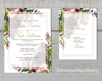 Elegant Purple Rose Winter Wedding Invitation,Purple Roses,Black Shimmer,Calligraphy,Silver Print,Shimmery,Personalize,Printed Invitation
