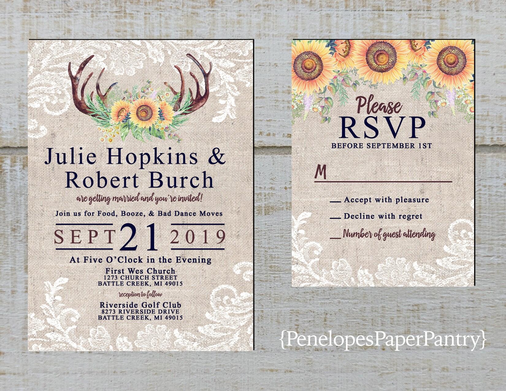 50: Sunflower Wedding Invitations Rustic Antlers At Reisefeber.org