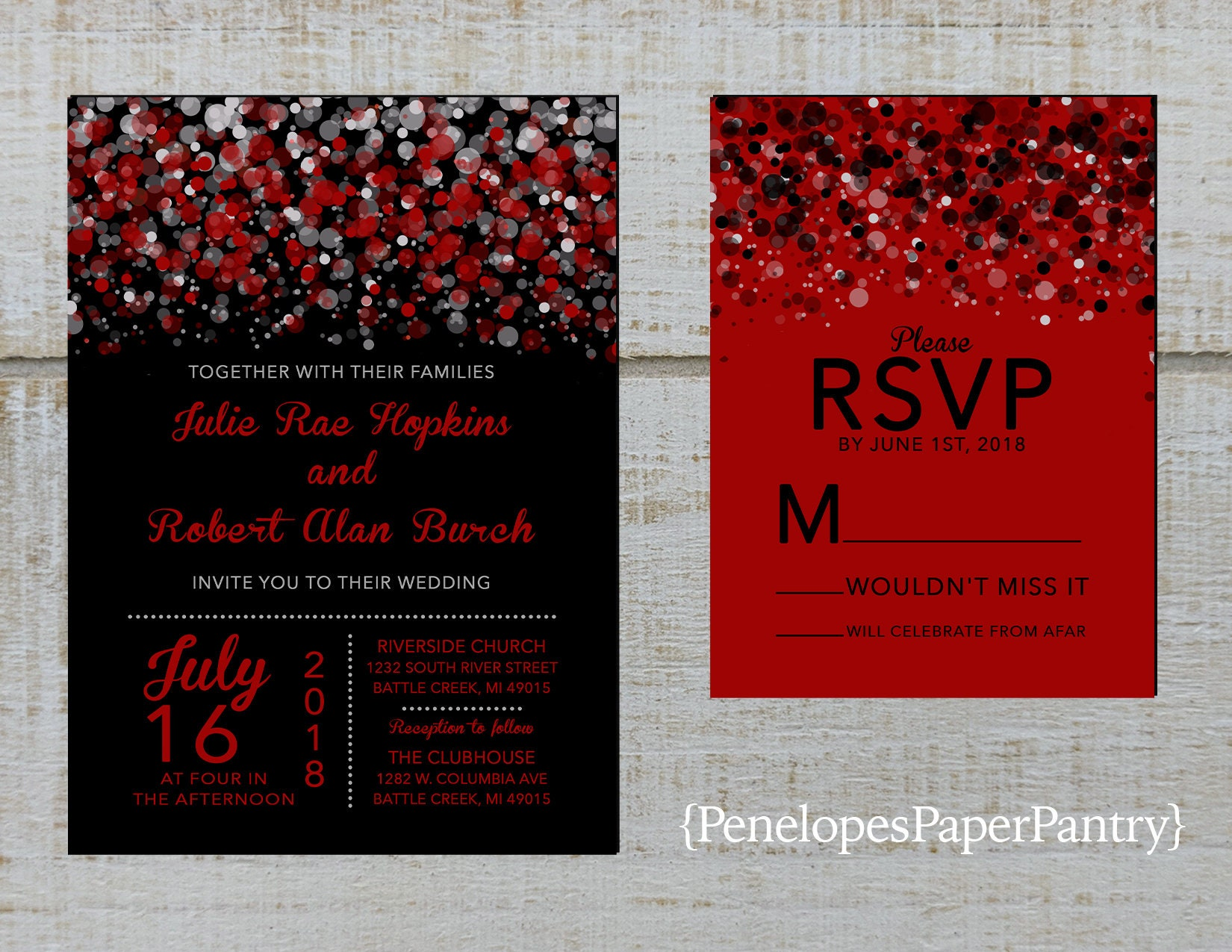 Black and Red Wedding InvitationsModern ConfettiSplatter   Etsy