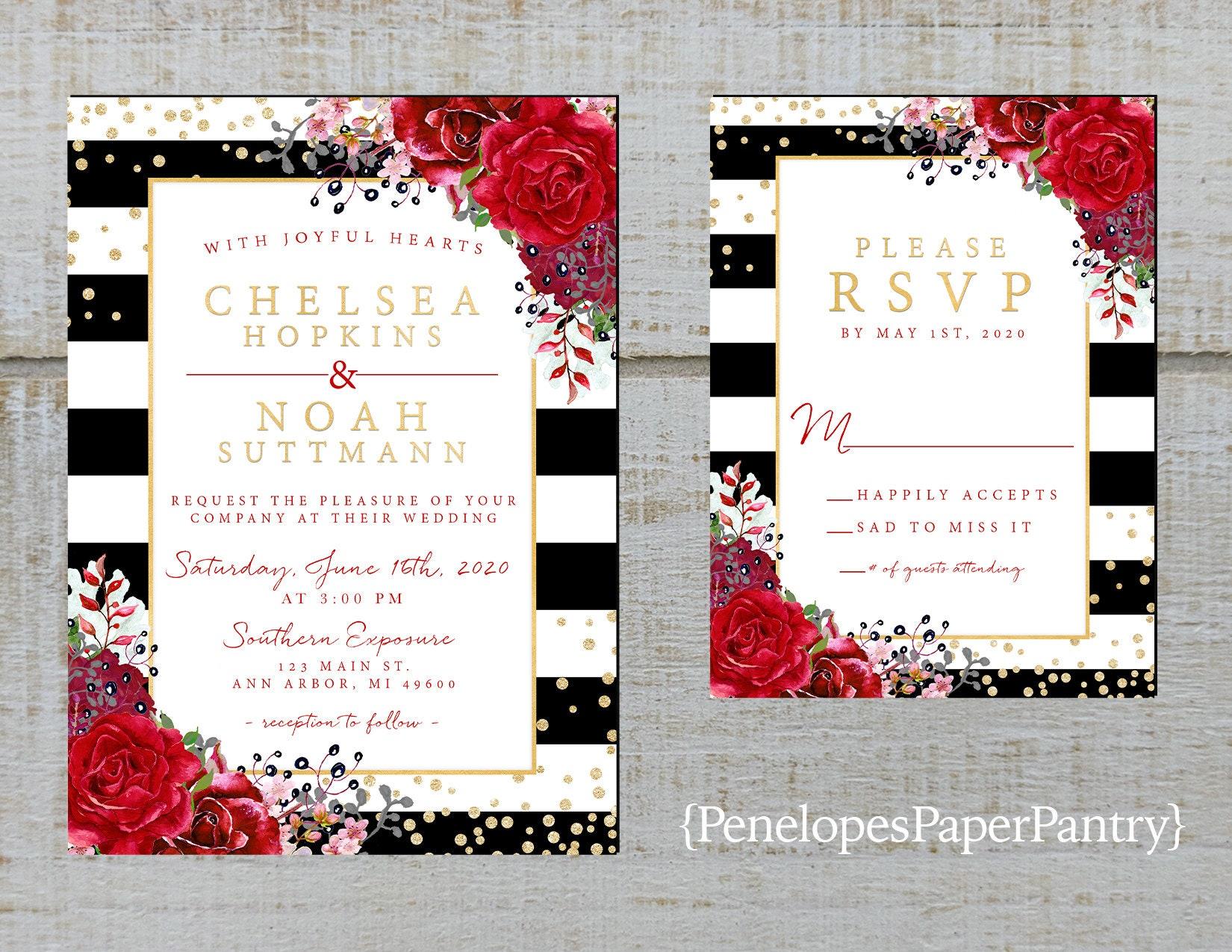 Chic Black and White Stripe Summer Wedding InvitationRed   Etsy