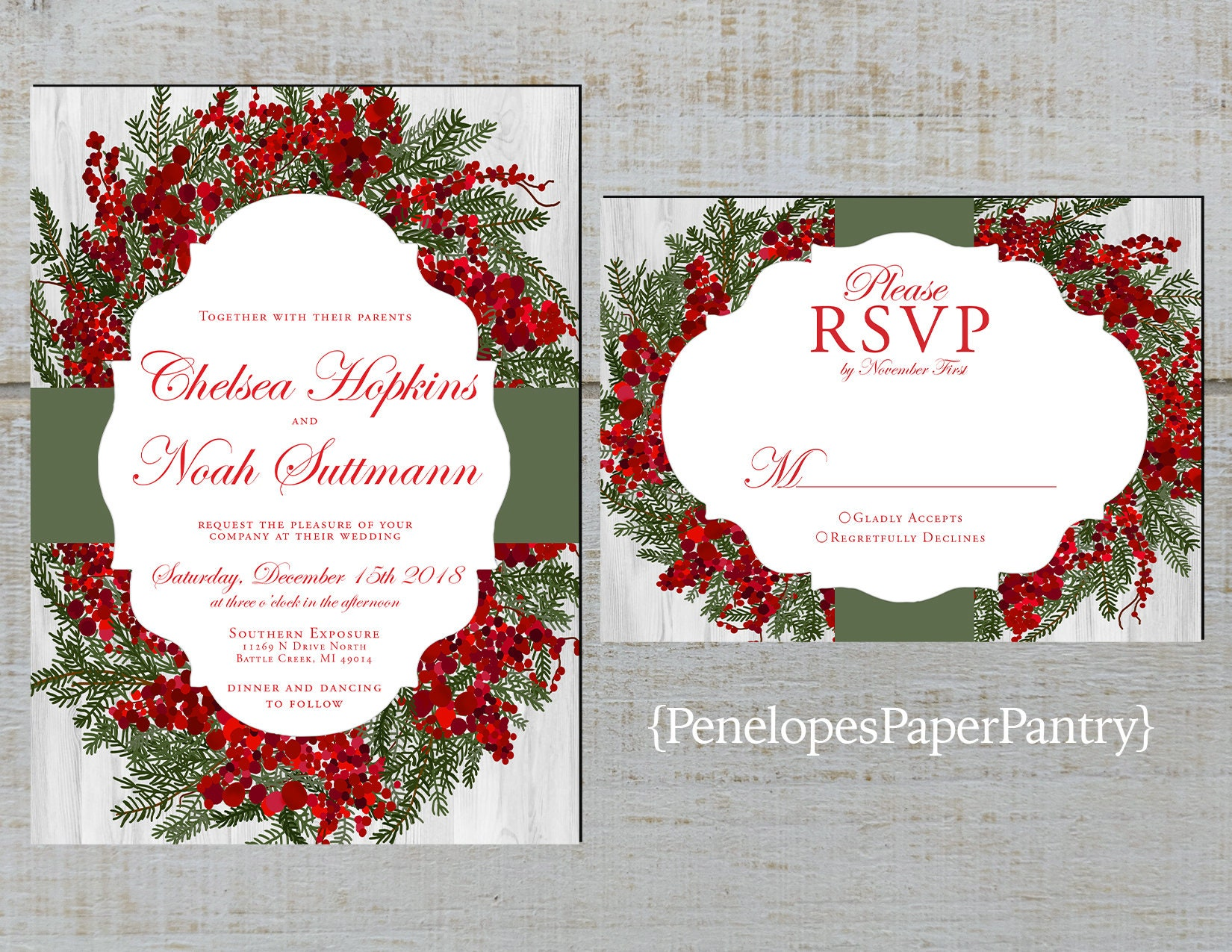 Elegant Christmas Wedding InvitationsRustic Red and Green | Etsy