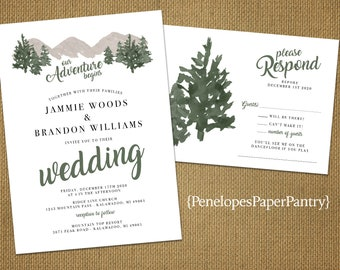 Rustic Minimalist Winter Wedding Invitation,Mountains,Pine Trees,Forest,Snow,Printed Invitation,Wedding Set,Envelope,Optional RSVP Card