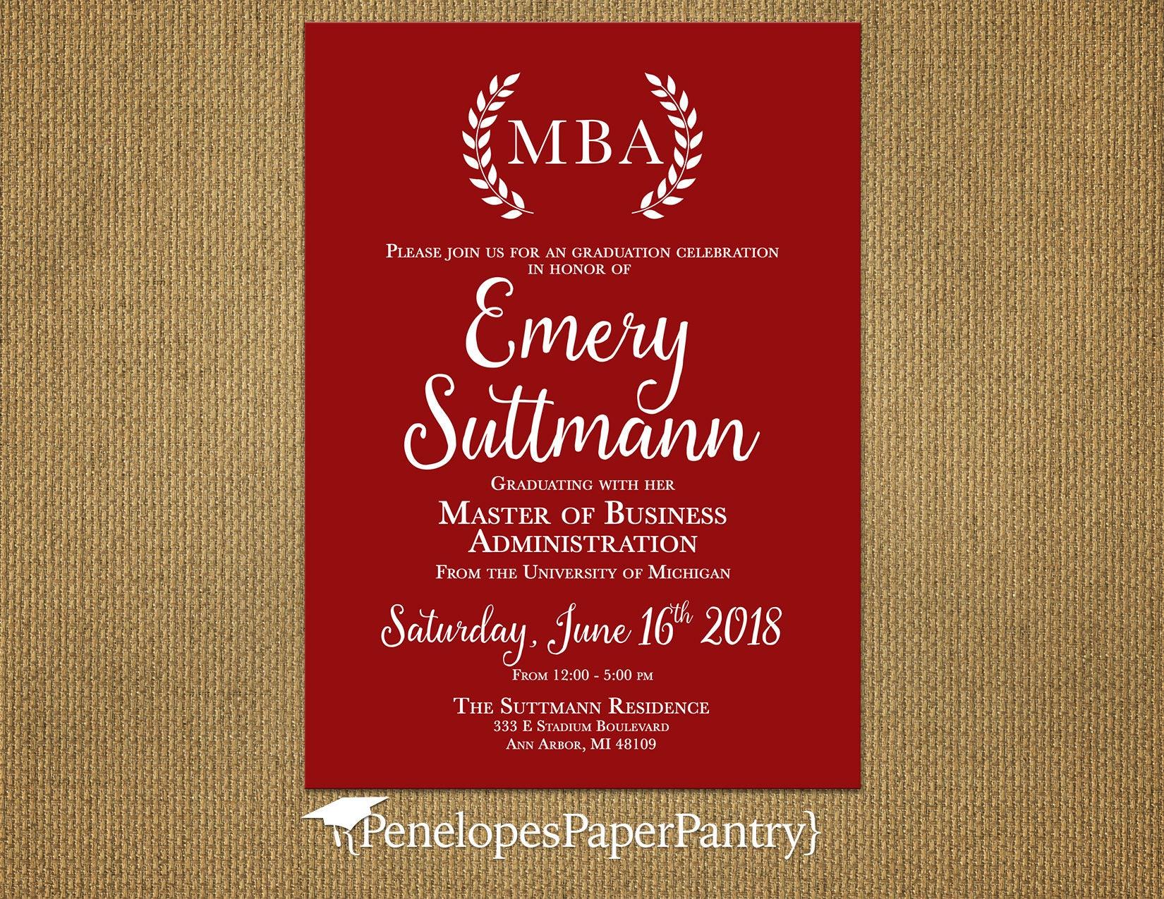 Elegant Red MBA Graduation AnnouncementParty InvitationMBA | Etsy