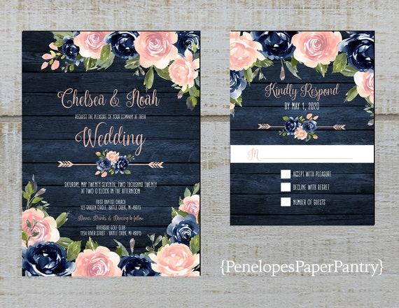 Rustic Navy Floral Summer Wedding Invitationblushnavy Etsy