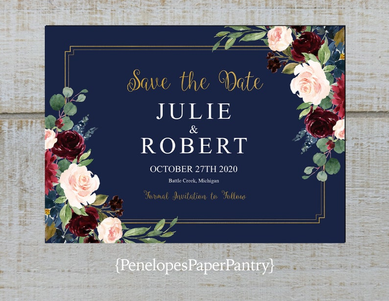 Elegant Navy Save The Date Card,Burgundy,Blush,Navy Blue,Roses,Gold Print,Shimmery,Personalize,Printed Cards