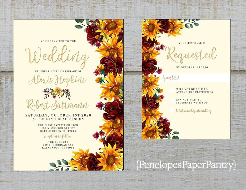 Romantic Ivory Sunflower Fall Wedding Invitation,Sunflowers,Burgundy Roses,Gold Print,Shimmery,Printed Invitation,Wedding Set