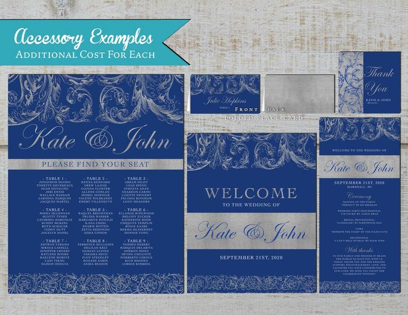 Elegant Royal and Silver Wedding Invitation,Royal Blue,Silver,Shimmery,Calligraphy,Traditional,Printed Invitation,Wedding Set,Envelope