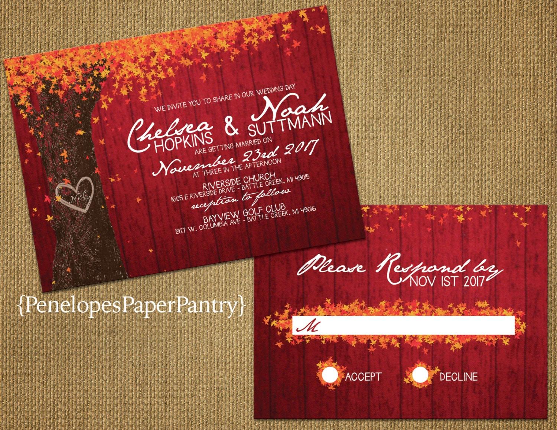 Romantic Red Rustic Fall Wedding InvitationOak TreeCarved   Etsy