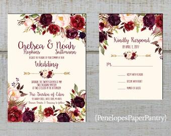 Romantic Ivory Fall Wedding Invitation,Burgundy,Marsala,Blush,Roses,Floral Arrow,Rustic,Printed Invitation,Wedding Set