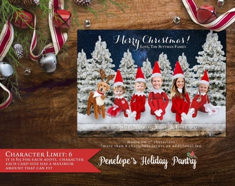 Fun Christmas Family Photo Card,Elf Family,Family As Elves,Snow,Evergreen Trees,Barn Wood,Personalize,Printed,Optional Back Print,Envelope