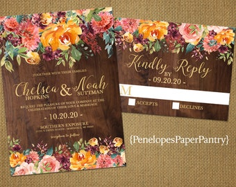 Rustic Floral Fall Wedding Invitation,Burgundy,Burnt Orange,Paprika,Teal,Roses,Wildflowers,Barn Wood,Gold Print,Shimmery,Printed Invitation
