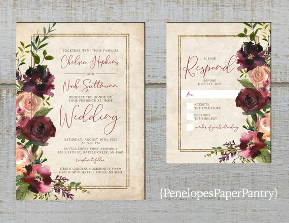 Rustic Floral Fall Wedding Invitation,Burgundy,Dusty Rose,Roses,Greenery,Parchment,Personalize,Printed Invitation,Wedding Set,Envelope