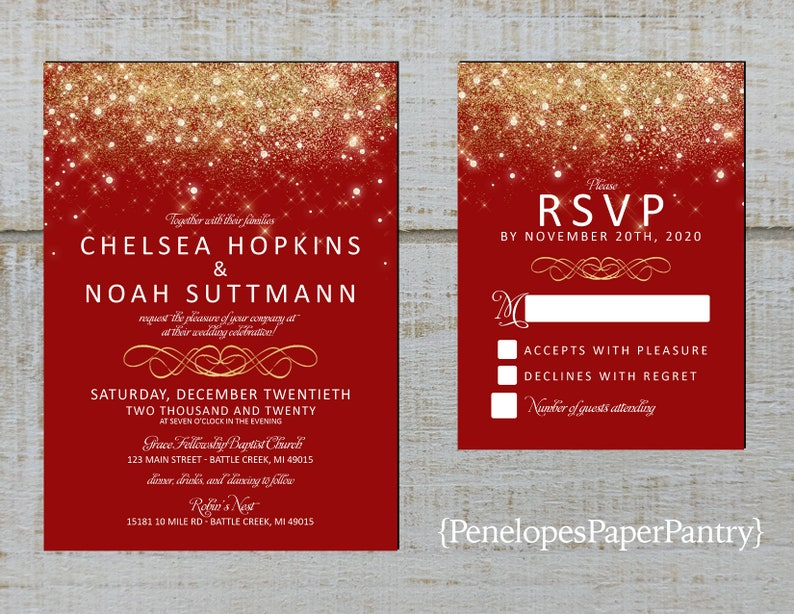Elegant Red and Gold Wedding Invitation,Red,Gold,Gold Fairy Dust,Gold  Glitter Print,Shimmery,Custom,Printed Invitation,Wedding Set,Envelopes