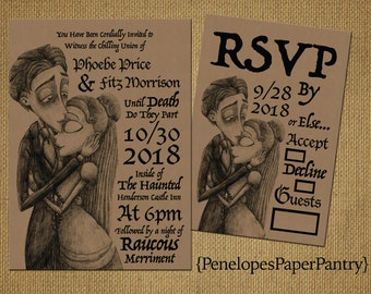 Corpse Bride Halloween Wedding Invitation,Rustic,Kraft Paper,Corpse Bride,Black Text,Unique,Simple,Rustic,Romantic,Printed Invitation or Set
